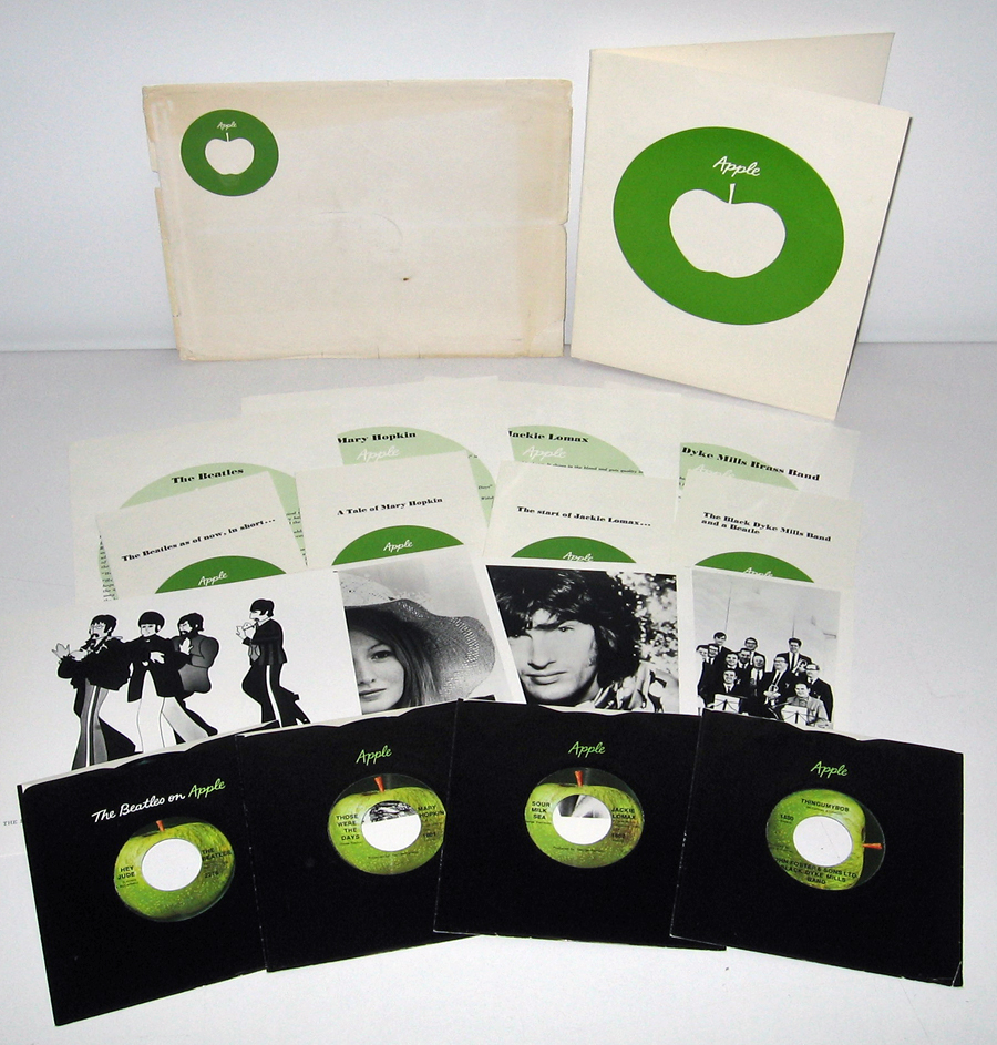 Each Single Pressed By Capitol In Los Angeles Are Packaged Their Respective WEST COAST THUMB TAB VERSION BLACK APPLE SLEEVES THE BEATLES HEY JUDE