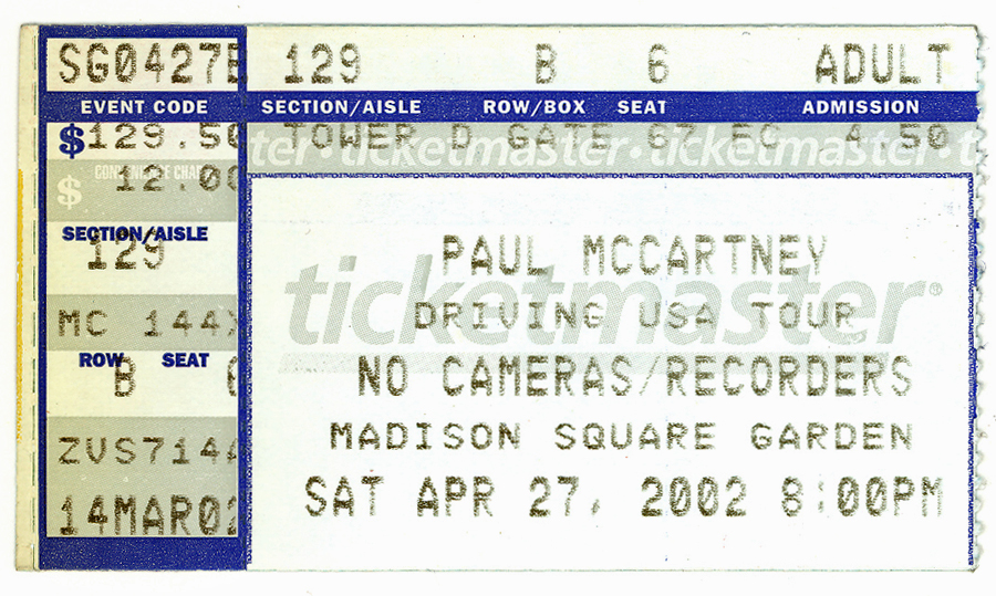 Fab 4 collectibles the very best quality in authentic - Paul mccartney madison square garden tickets ...