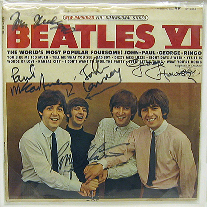 SIGNED ON THE FRONT COVER BY BEATLES AUTOGRAPHED AUGUST 29 1965 CAPITOL RECORDS TOWER VINE STREET HOLLYWOOD CA FOLLOWING PRESS CONFERENCE AND GOLD